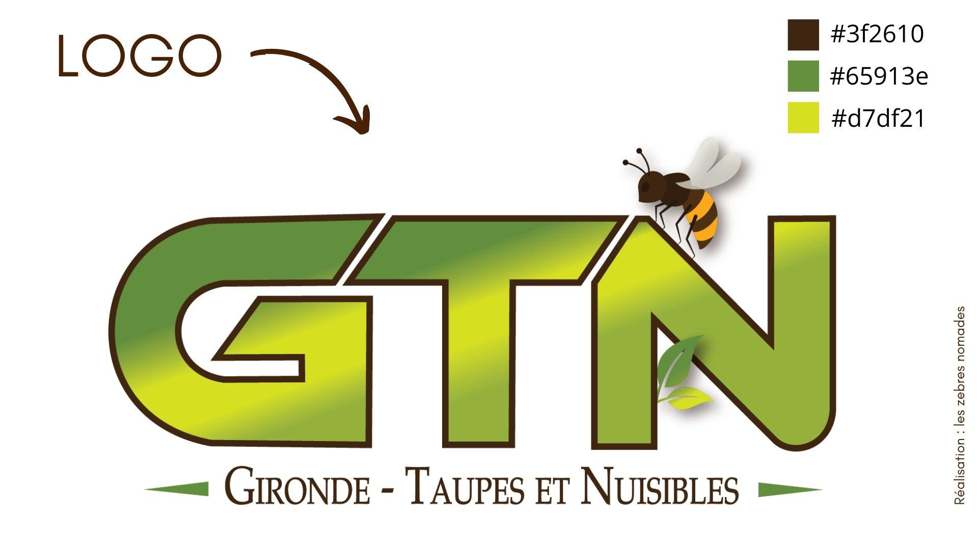 GTN Gironde Taupes et Nuisibles logo créer par les zebres nomades